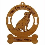 3628 Olde English Bulldogge Sitting  Ornament Personalized with Your Dog's Name