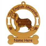 3636 Old English Sheepdog Standing Ornament Personalized with Your Dog's Name