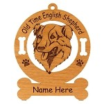 3639 Old Time English Shepherd Head Ornament Personalized with Your Dog's Name