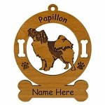3655 Papillon Standing Ornament Personalized with Your Dog's Name