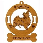 3656 Papillon Standing #2 Ornament Personalized with Your Dog's Name