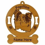 3657 Papillon Head Ornament Personalized with Your Dog's Name