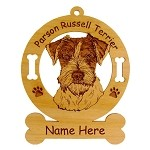 3688 Parson Russell Terrier Head Ornament Personalized with Your Dog's Name