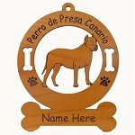 3700 Perro de Presa Canrio Standing Ornament Personalized with Your Dog's Name