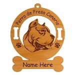 3700a  Perro de Presa Canrio Head Ornament Personalized with Your Dog's Name