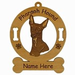 3707 Pharaoh Hound Head Ornament Personalized with Your Dog's Name