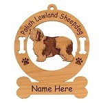 3723 Polish Lowland Sheepdog Standing #2 Ornament Personalized with Your Dog's Name