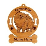 3736 Pomeranian Standing #4 Ornament Personalized with Your Dog's Name
