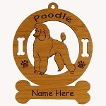 3747 Poodle Standing Ornament Personalized with Your Dog's Name