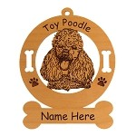 3748 Toy Poodle Head Ornament Personalized with Your Dog's Name