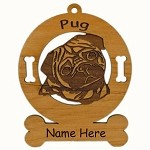 3760 Pug Head Ornament Personalized with Your Dog's Name