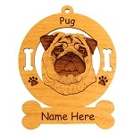 3762 Pug Head Ornament Personalized with Your Dog's Name