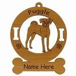 3764 Puggle Standing Ornament Personalized with Your Dog's Name