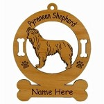 3795 Pyrenean Shepherd Standing Ornament Personalized with Your Dog's Name