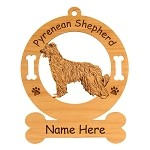 3796 Pyrenean Shepherd Standing #2 Ornament Personalized with Your Dog's Name
