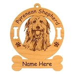 3797 Pyrenean Shepherd Head Ornament Personalized with Your Dog's Name