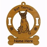3803 Rat Terrier Sitting Ornament Personalized with Your Dog's Name