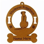 3821 Rhodesian Ridgeback Sitting Ornament Personalized with Your Dog's Name