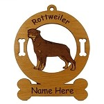 3832 Rottweiler Standing Ornament Personalized with Your Dog's Name