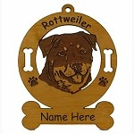 3836 Rottweiler Head 2 Ornament Personalized with Your Dog's Name