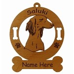 3847 Saluki Head Ornament Personalized with Your Dog's Name