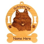 3871 Schipperke Head Ornament Personalized with Your Dog's Name