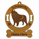 3872 Schipperke Standing Ornament Personalized with Your Dog's Name