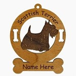 3895 Scottish Terrier Standing Ornament Personalized with Your Dog's Name