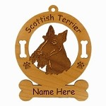 3897 Scottish Terrier Head Ornament Personalized with Your Dog's Name