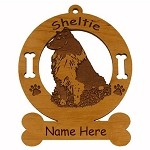 3931 Sheltie Sitting Ornament Personalized with Your Dog's Name
