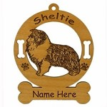 3932 Sheltie Blue Merle Standing Ornament Personalized with Your Dog's Name