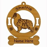 3934 Sheltie Blue Merle Pup Ornament Personalized with Your Dog's Name