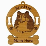 3936 Sheltie Head #2 Ornament Personalized with Your Dog's Name