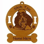 3963 Shih Tzu Head Ornament Personalized with Your Dog's Name