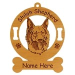 3970 Shiloh Shepherd Head Ornament Personalized with Your Dog's Name