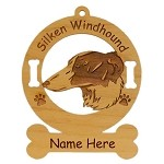 3983 Silken Windhound Head Ornament Personalized with Your Dog's Name