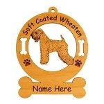 4004 Soft Coated Wheaten Standing #4 Ornament Personalized with Your Dog's Name