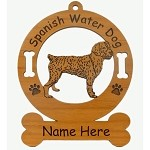 4008 Spanish Water Dog Standing Ornament Personalized with Your Dog's Name