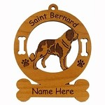 4119 Saint Bernard Standing Ornament Personalized with Your Dog's Name