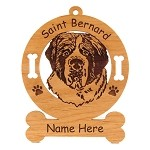 4120 Saint Bernard Head Ornament Personalized with Your Dog's Name