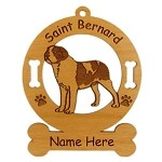 4121 Saint Bernard Smooth Standing Ornament Personalized with Your Dog's Name