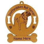 4132 Staffordshire Terrier Standing Ornament Personalized with Your Dog's Name