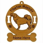 4163 Tibetan Mastiff Standing Ornament Personalized with Your Dog's Name
