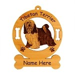 4171 Tibetan Terrier Standing #4 Ornament Personalized with Your Dog's Name