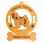 4173 Tibetan Terrier Standing #2 Ornament Personalized with Your Dog's Name