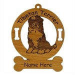 4174 Tibetan Terrier Sitting Ornament Personalized with Your Dog's Name