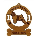 4175 Tibetan Terrier Standing Ornament Personalized with Your Dog's Name
