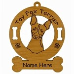 4183 Toy Fox Terrier Head Ornament Personalized with Your Dog's Name