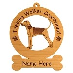 4186 Treeing Walker Coonhound Female Standing Ornament Personalized with Your Dog's Name