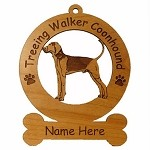 4187 Treeing Walker Coonhound Standing Ornament Personalized with Your Dog's Name